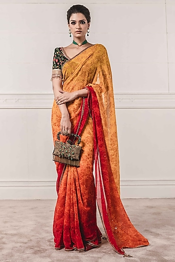 Sunset Orange Ombre Embroidered Saree Set by Tarun Tahiliani