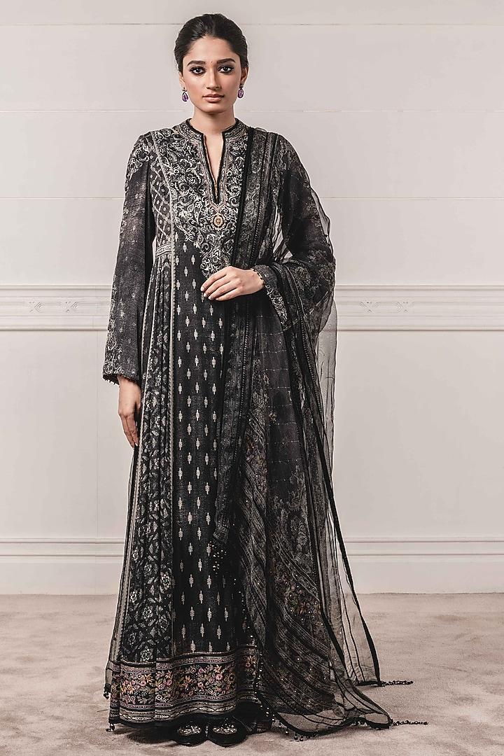 Black Embroidered & Printed Anarkali Set by Tarun Tahiliani