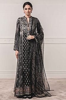 Black Embroidered & Printed Anarkali Set by Tarun Tahiliani