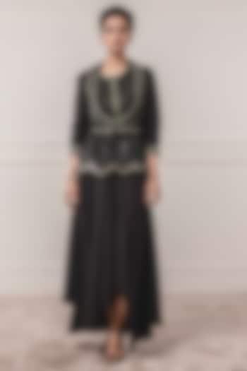 Black Embroidered & Printed Jacket by Tarun Tahiliani