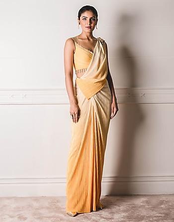 Yellow Concept Saree Set by Tarun Tahiliani