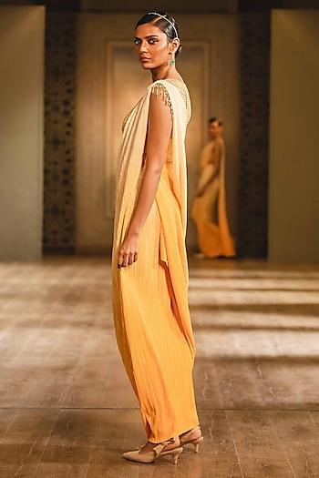 Yellow Crystal Draped Dress by Tarun Tahiliani