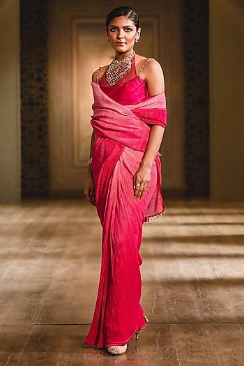 Coral Saree With Draped Blouse by Tarun Tahiliani