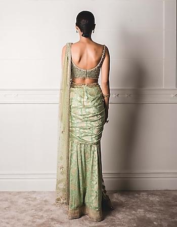 Green Draped Concept Saree Set by Tarun Tahiliani