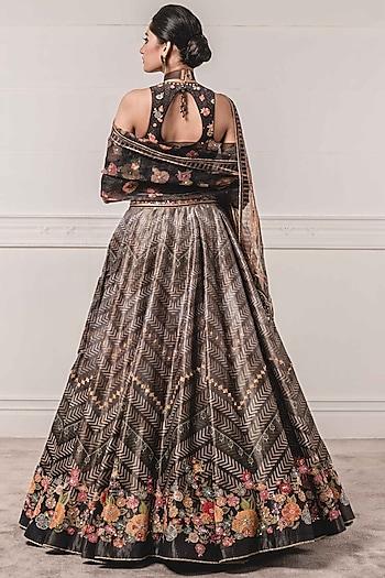 Black Kasab Satin Printed Lehenga Set by Tarun Tahiliani