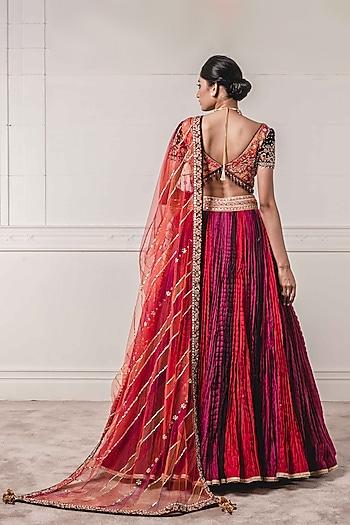 Coral Embroidered Lehenga Set by Tarun Tahiliani