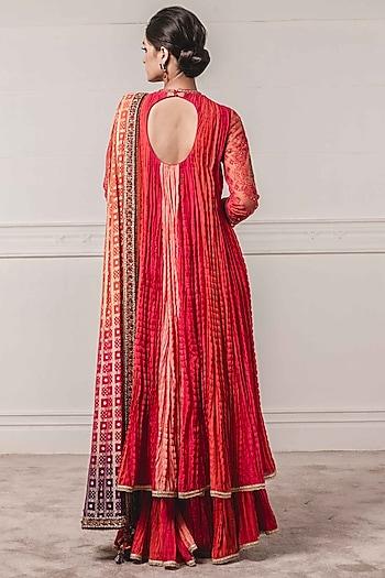 Coral Embroidered Sharara Set by Tarun Tahiliani