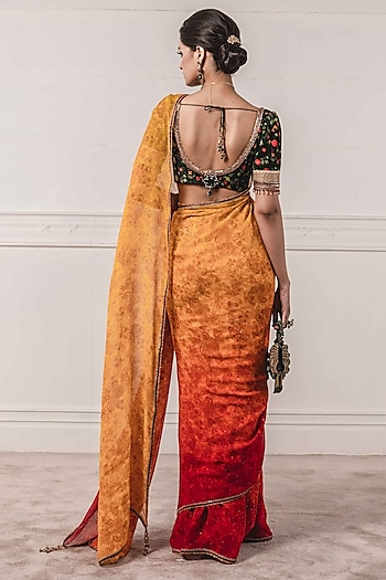 Sunset Yellow Ombre Embroidered & Printed Saree Set by Tarun Tahiliani