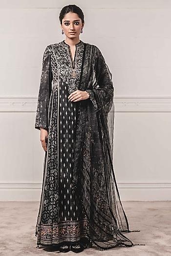 Black Printed Anarkali Set by Tarun Tahiliani