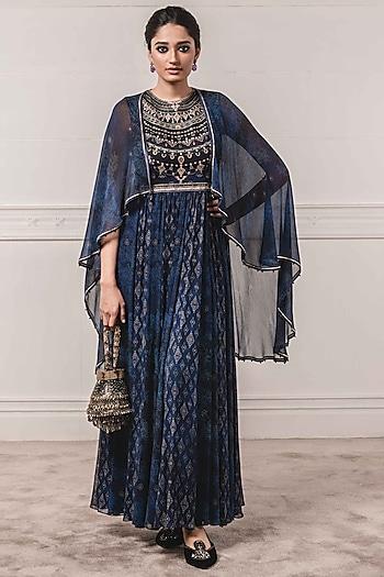 Indigo Blue Anarkali Set With Attached Cape by Tarun Tahiliani