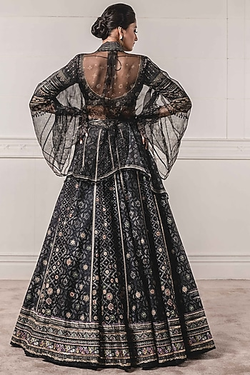 Black Embroidered Cape Lehenga Set by Tarun Tahiliani