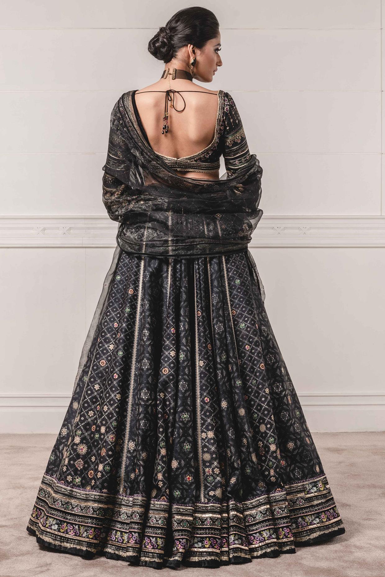 Black Printed & Embroidered Lehenga Set by Tarun Tahiliani