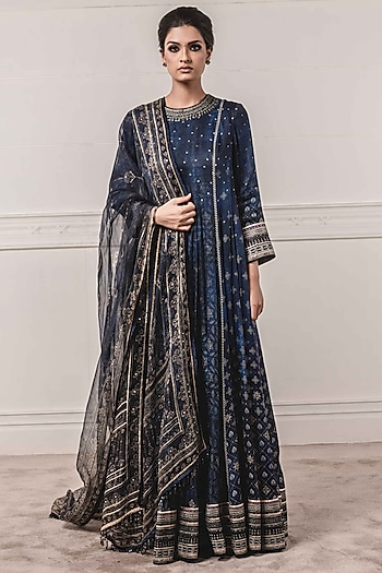 Indigo Blue Printed Kurta Set by Tarun Tahiliani