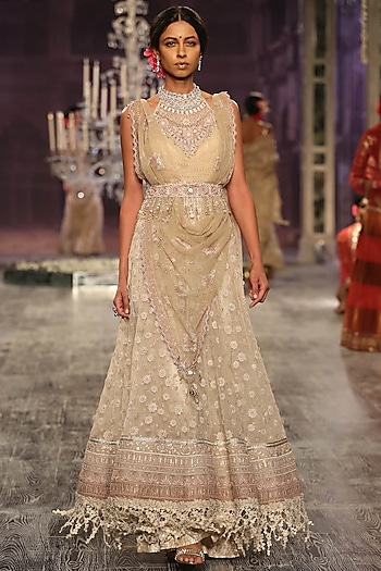 Beige Thread Embroidered Palazzo Pants With Dupatta by Tarun Tahiliani