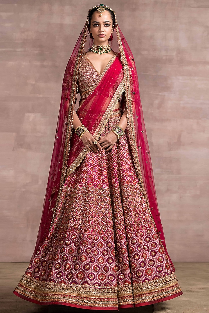 Pink & Red Kundan Embroidered Lehenga Set by Tarun Tahiliani