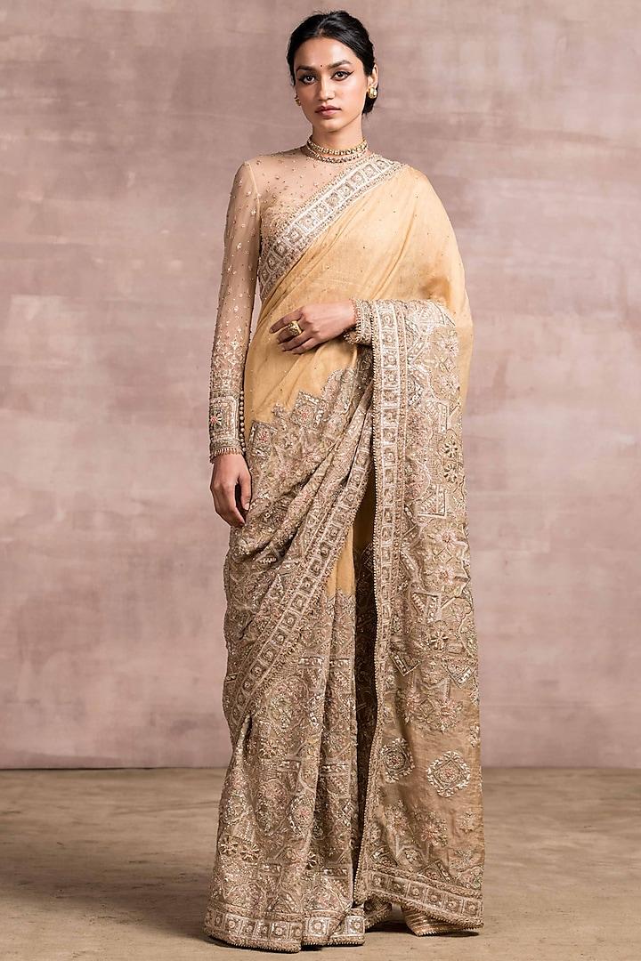 Golden Embroidered Saree Set by Tarun Tahiliani