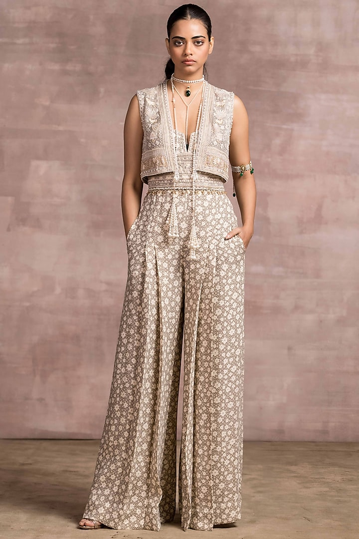 Oyster Printed & Embroidered Jumpsuit by Tarun Tahiliani