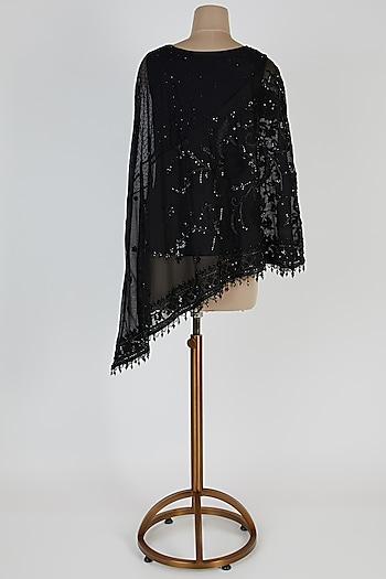 Black Embroidered Tulle Cape by Tarun Tahiliani