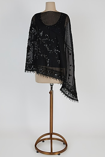 Black Embroidered Tulle Cape by Tarun Tahiliani