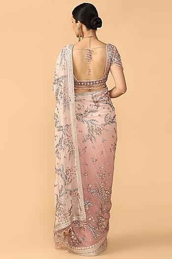 Old Rose Pink Embroidered Saree Set by Tarun Tahiliani