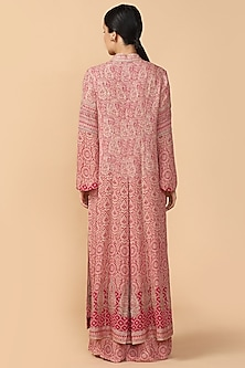 Pink Printed Embroidered Jacket With Palazzo Pants & Bustier by Tarun Tahiliani