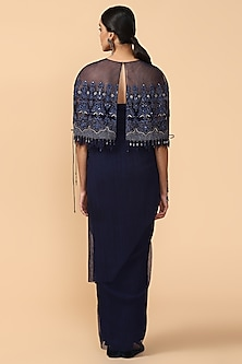 Navy Blue Embroidered Cape With Slip by Tarun Tahiliani