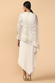 Ivory Embroidered Cape With Slip by Tarun Tahiliani