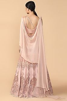 Blush Pink Embroidered Draped Lehenga Set by Tarun Tahiliani
