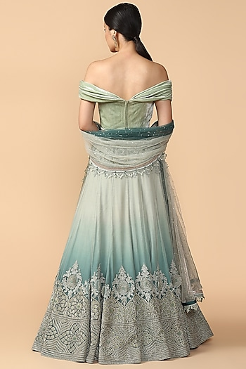 Mint Blue Ombre Embroidered Lehenga Set by Tarun Tahiliani