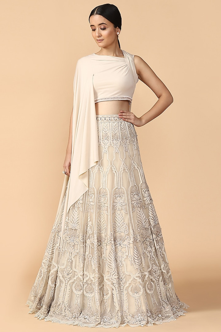 Ivory Embroidered Lehenga Skirt With Draped Blouse by Tarun Tahiliani