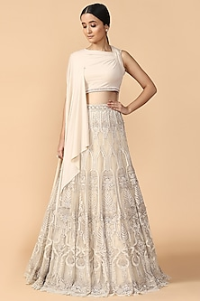 Ivory Embroidered Lehenga Skirt With Draped Blouse by Tarun Tahiliani