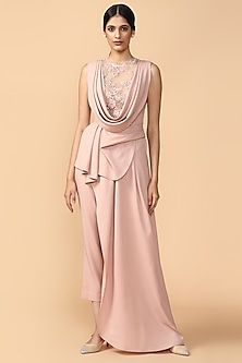 Blush Pink Embroidered Draped Top With Trouser Pants by Tarun Tahiliani