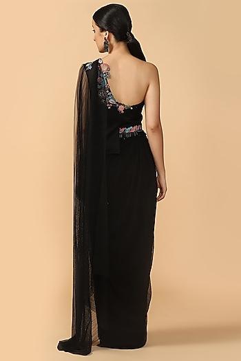 Black Embroidered Pre-Draped Saree With Belt by Tarun Tahiliani