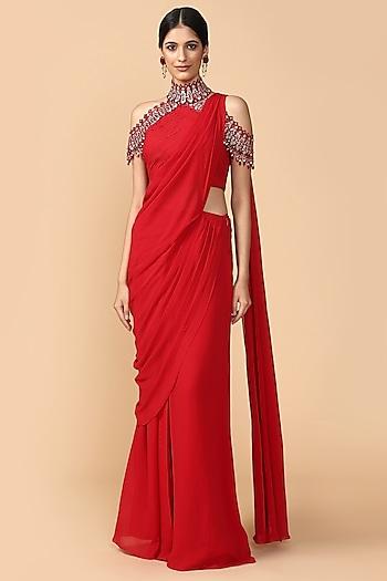 Red Embroidered Pre-Draped Saree Set by Tarun Tahiliani