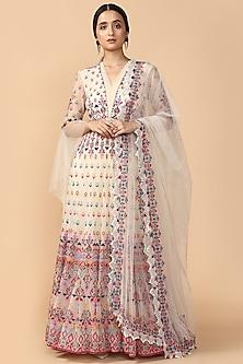 Ivory Embroidered Anarkali Set by Tarun Tahiliani