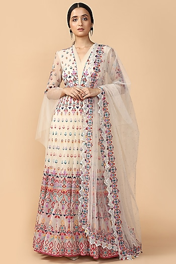 Ivory Embroidered Anarkali Set by Tarun Tahiliani