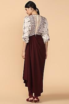 Ivory & Wine Embroidered Kimono Jumpsuit by Tarun Tahiliani
