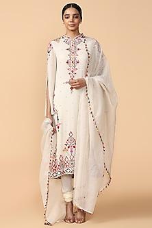 Ivory Embroidered Kurta Set by Tarun Tahiliani