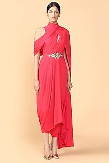 Fuchsia Embroidered Draped Jumpsuit by Tarun Tahiliani