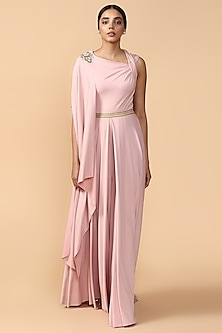 Pink Embroidered Draped Jumpsuit by Tarun Tahiliani