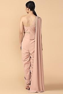 Blush Pink Embroidered Draped Jumpsuit by Tarun Tahiliani