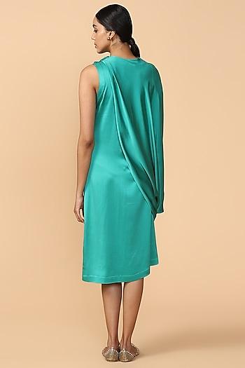 Emerald Green Embroidered Draped Tunic by Tarun Tahiliani