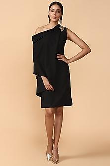 Black Embroidered Draped Tunic by Tarun Tahiliani