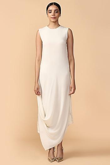 Ivory Silk Georgette Draped Tunic by Tarun Tahiliani