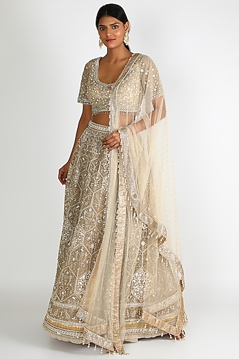 Ivory Embroidered Lehenga Set by Tarun Tahiliani