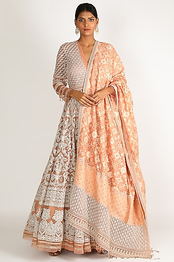 Beige Embroidered Anarkali Set by Tarun Tahiliani