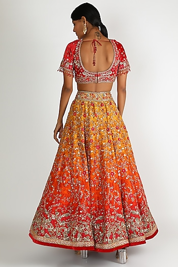Orange Ombre Embroidered Lehenga Set by Tarun Tahiliani