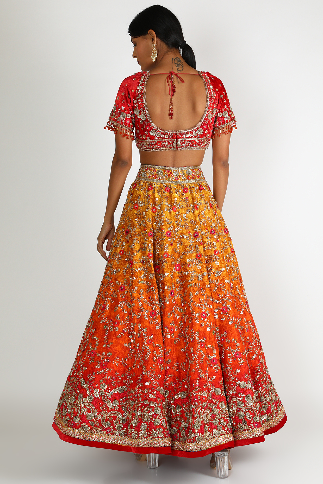 Orange Ombre Embroidered Lehenga Set by Tarun Tahiliani
