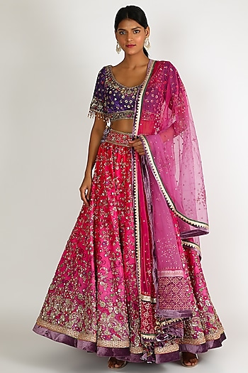 Pink & Purple Embroidered Lehenga Set by Tarun Tahiliani