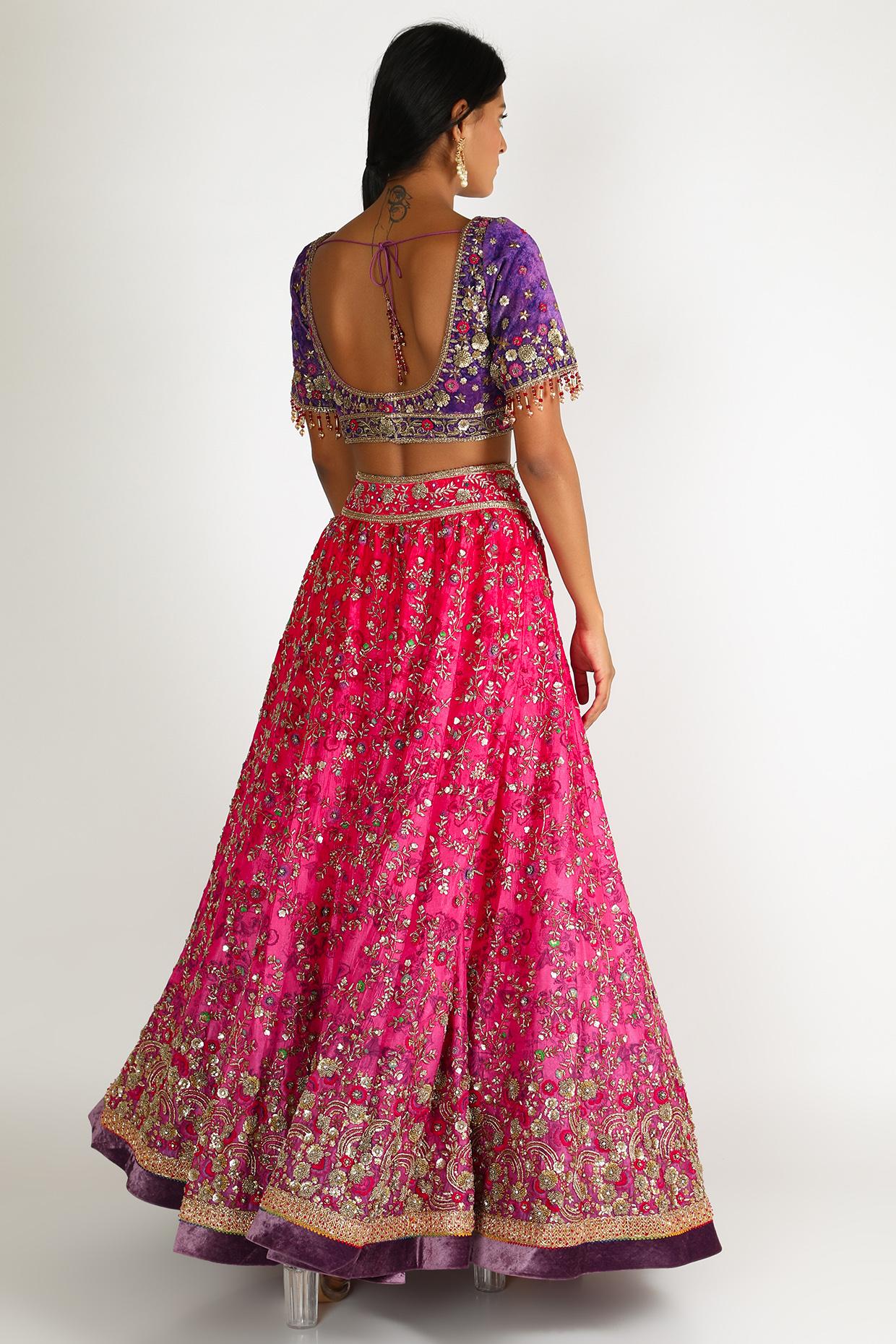 Pink & Purple Embroidered Lehenga Set by Tarun Tahiliani